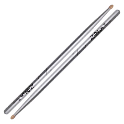 Zildjian Z5ACS 5A Chroma Silver Metallic Paint Drum Sticks Pair