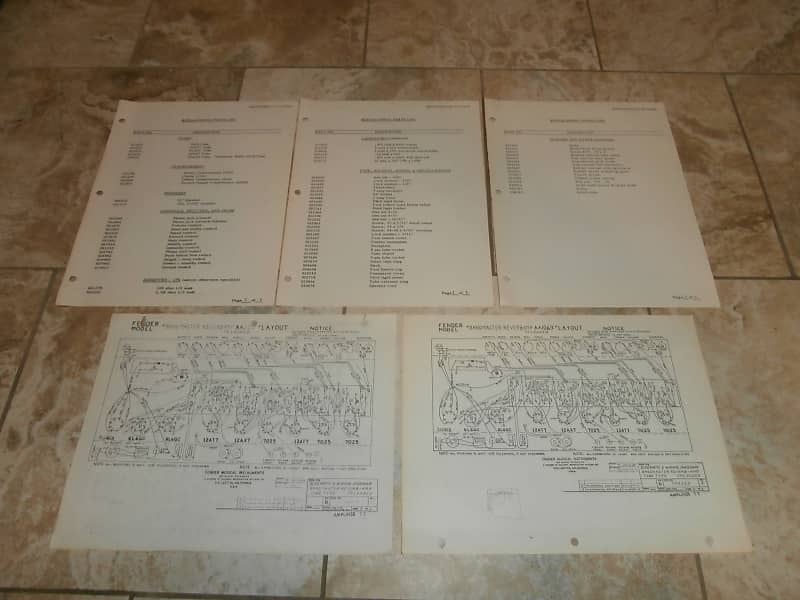 Vintage Early 1970's Fender Bandmaster Reverb Replacement Parts List on