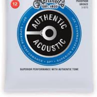 Martin MA540PK3 3 Set Pack Authentic Acoustic SP 12-54 Light Phosphor Bronze Acoustic Guitar Strings .012-.054