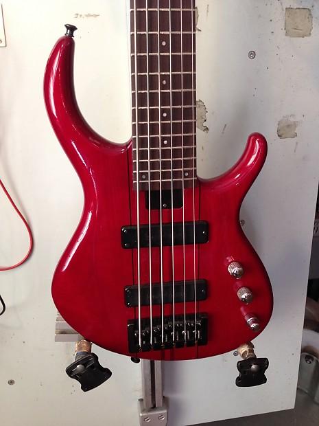tobias 6 string bass 90 39 s transparent red reverb. Black Bedroom Furniture Sets. Home Design Ideas