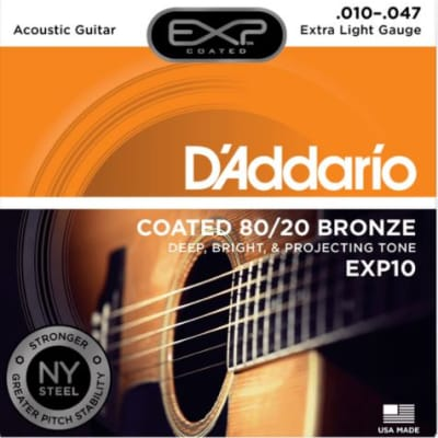 D'Addario Coated 80/20 Bronze, Extra Light, 10-47, Acoustic Guitar Strings EXP10