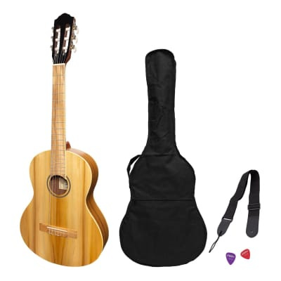 Martinez 3/4 Size Student Classical Guitar Pack with Built In Tuner (Jati-Teakwood) for sale