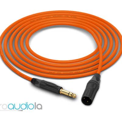"Mogami 2534 Quad Cable | Neutrik Gold 1/4"" TRS to XLR-Male | Orange 7 Feet | 7 Ft. | 7'"