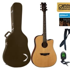 Dean Guitars AX DCE GN HSBNPACK Dreadnought Cutaway Acoustic Electric Guitar Gloss Natural Case