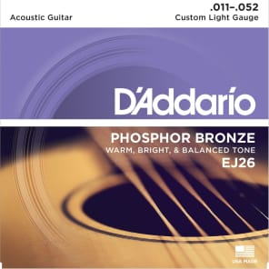 D'Addario EJ26 Phosphor Bronze Acoustic Guitar Strings, Custom Light Gauge Standard