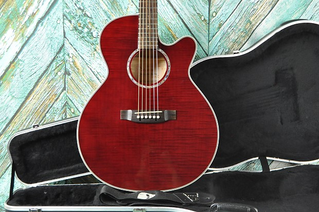 Takamine G Series Acoustic Electric Guitar EG540C W SKB Hard Shell Case Red Flamed