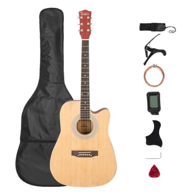 Glarry GT509 41 Inch EQ Cutaway Folk Acoustic Guitar Spruce Front Natural for sale