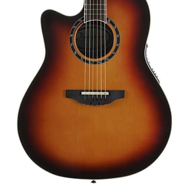 Ovation Timeless Collection 6 String Acoustic-Electric Guitar, Left, New England Burst, Mid Depth Body (L771AX-NEB)