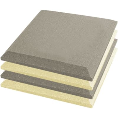 Arrowzoom 4 pcs Pearl White & Gray Flat Bevel Tile Acoustic Foam 19.6 x 19.6 x 1.9 inches KK1039