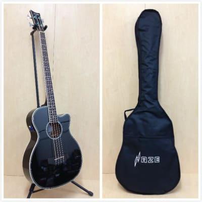4-String Electric-Acoustic Bass Guitar,EQ,Black+Bag 3/4 Size Haze FB-711 BCEQ/BK for sale