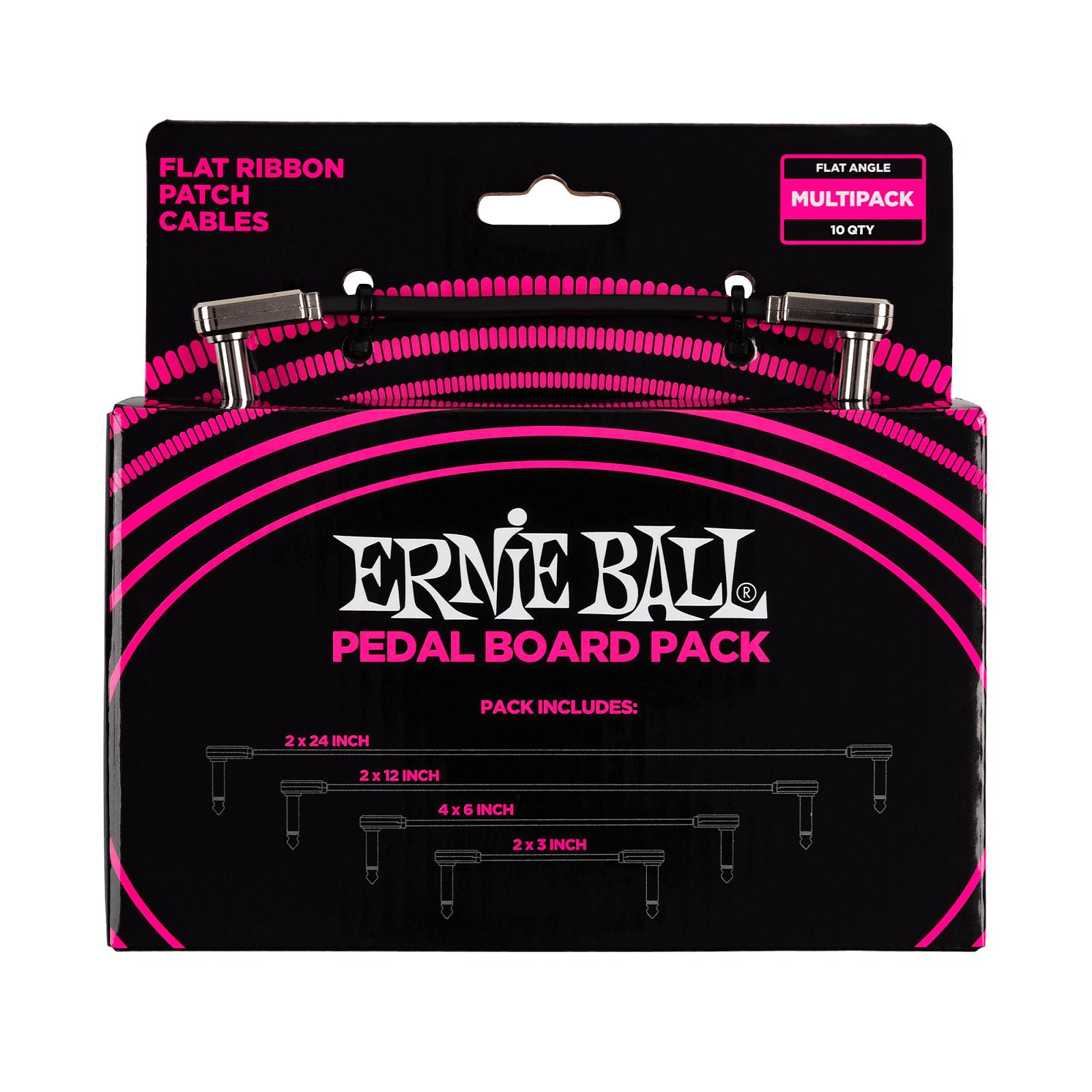 "Ernie Ball Flat Ribbon Patch Cables Pedalboard Multi-Pack (2x 24"" 2x 12"" + 4x 6"" + 2x 3"")"