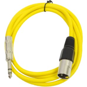 """Seismic Audio SATRXL-M6YELLOW XLR Male to 1/4"""" TRS Male Patch Cable - 6'"""
