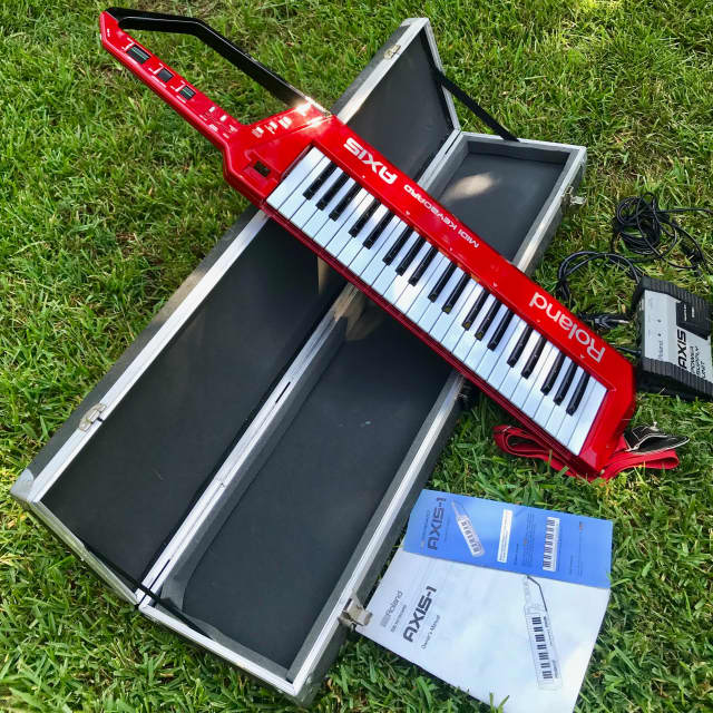 """Roland Axis 1987 """"Red"""" Remote MIDI Keyboard Controller (Keytar!) w/power supply & case image"""