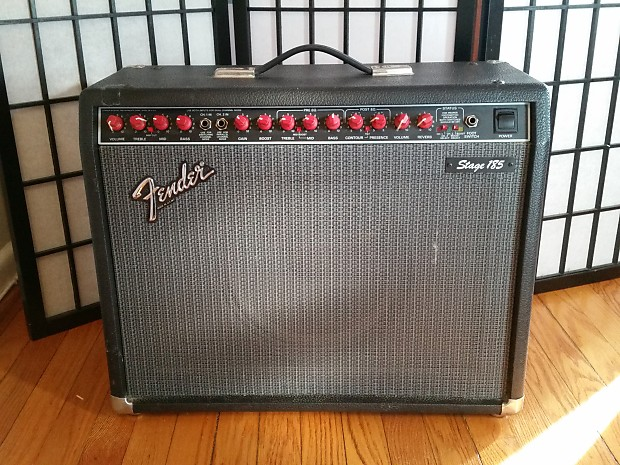 fender stage 185 guitar amplifier black amp with red knobs reverb. Black Bedroom Furniture Sets. Home Design Ideas