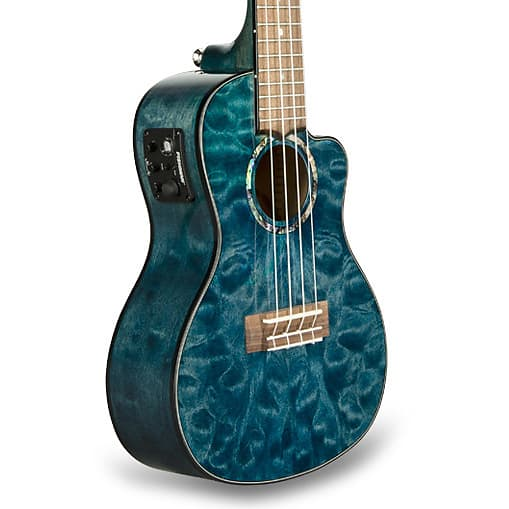 Lanikai QM-BLCEC Quilted Maple Blue Cutaway Electric Concert Ukulele w/ Gig Bag