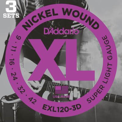 D'Addario EXL120-3D Nickel Wound Electric Guitar Strings, Super Light Gauge .009 -  .042 , 3-Pack