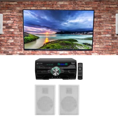 """Technical Pro DV4000 4000w Home Theater DVD Receiver+(4) 5.25"""" White Speakers"""
