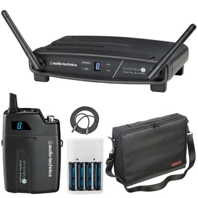 Audio-Technica ATW-1101 System 10 Digital Wireless Receiver and Pocket Transmitter + Accessories