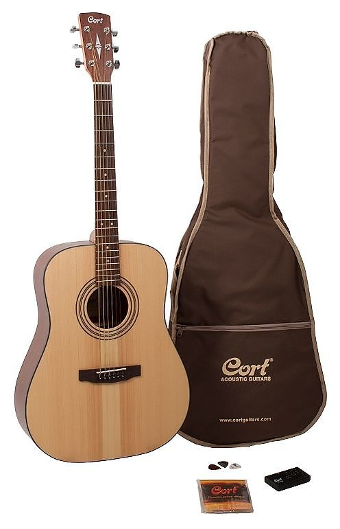 Cort Earth Series Acoustic Guitar Pack; Gig Bag, Chromatic Tuner, Picks, Strings & DVD, Free Shippin