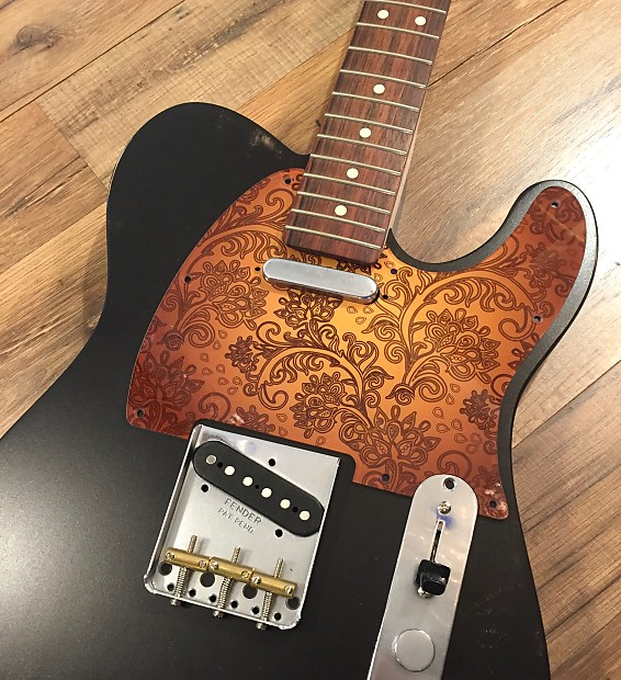 Custom Floral Paisley Orange Pickguard to fit Fender® Telecaster® style 8 hole