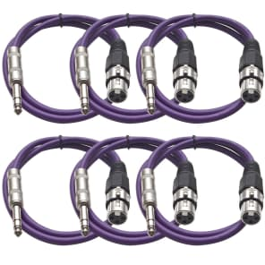 """Seismic Audio SATRXL-F3PURPLE6 XLR Female to 1/4"""" TRS Male Patch Cables - 3' (6-Pack)"""