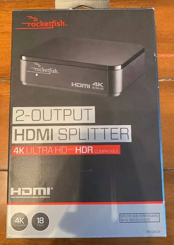 Rocketfish RF-G1603 2 Output HDMI Splitter 4K UHD And HDR Compatible