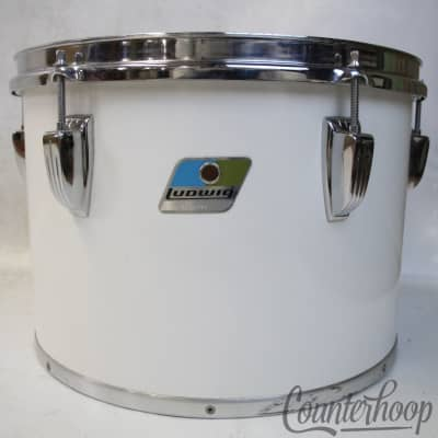 """*Ludwig 13x9""""White Cortex Concert Tom Drum Blue/Olive 6Ply Maple USA Vintage 80s"""