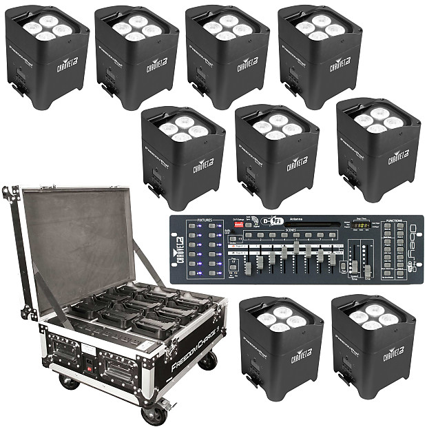Chauvet Freedom Par Quad-4 Wireless LED Lights, 9-Pack with Freedom Charge  9 Case & DMX Controller