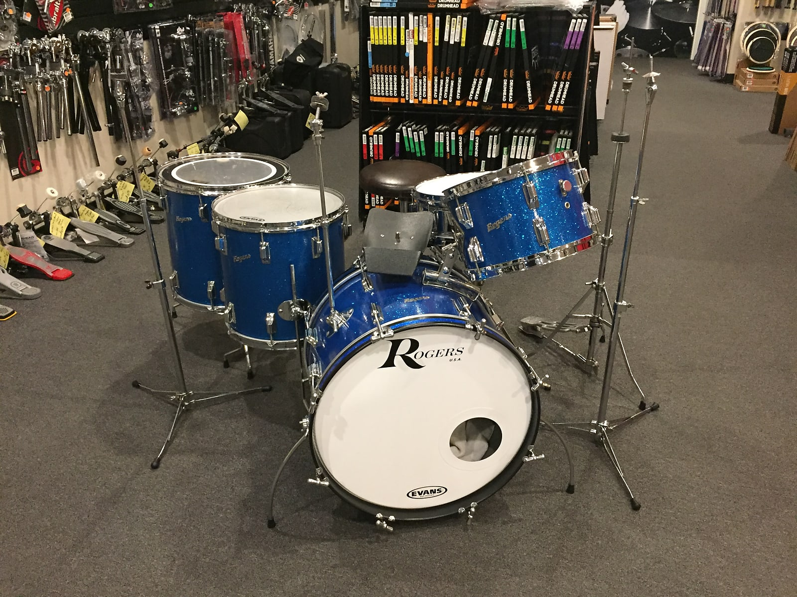 Rogers 5 Pc 60's Holiday Drum Set 12/14/16/20 with 5x14 Powertone Sn and Full Vintage Hardware Setup