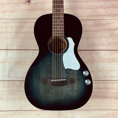Art & Lutherie Roadhouse Q-Discrete Parlor Acoustic Guitar, Indigo Burst