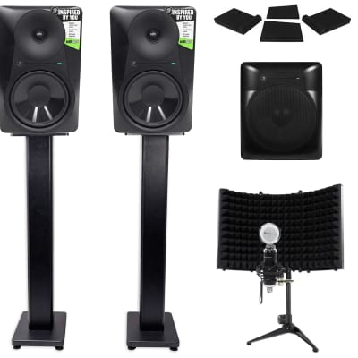 """2 Mackie MR824 8"""" Powered Studio Monitors+10"""" Active Sub+Mic+Mount+Stands+Pads"""