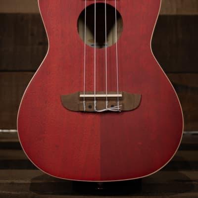 Ortega RUFIRE Earth Series Concert Ukulele, Transparent Fire Red for sale