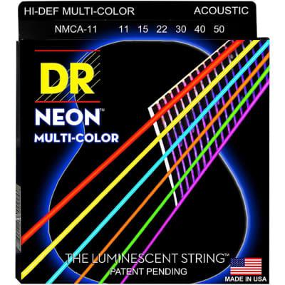 DR Strings Hi-Def NEON Multi-Color Coated Acoustic Strings Light 12, 16, 24, 32, 42, 54
