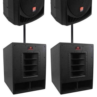 "(2) Rockville RPG15 15"" Powered 1000W DJ/PA Speakers+(2) 15"" Subwoofers+Poles"