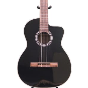Takamine G Series GC1CE-BLK Acoustic-Electric Classical Cutaway Guitar, Black, GC1CEBLK for sale