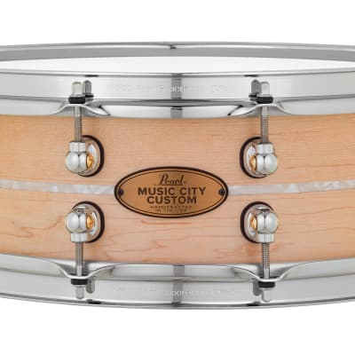 Pearl Music City Custom 14x5 Maple Solid Shell Snare Nashville Natural | Nicotine White Marine Inlay