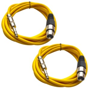 "Seismic Audio SATRXL-F10-YELLOWYELLOW 1/4"" TRS Male to XLR Female Patch Cables - 10' (2-Pack)"