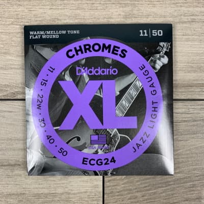 D'Addario ECG24 Chromes Flat Wound Electric Guitar Strings, 11-50, Jazz Light Set