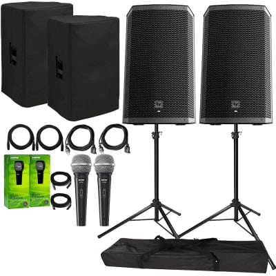 """Electro-Voice ZLX-12BT Active 12"""" Bluetooth Speaker Package with 2x  Microphones, Cables"""
