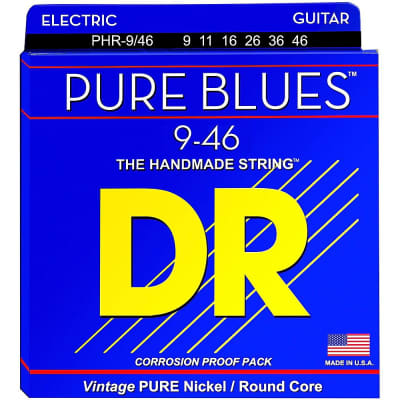 DR Pure Blues Electric Guitar Strings Pure Nickel 9-46 Light & Heavy PHR-9/46