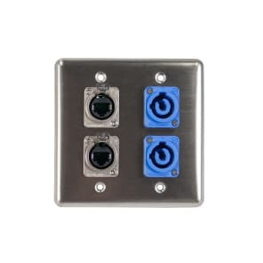 OSP Q-4-2E2PCA Quad Wall Plate with 2 Tactical Ethernet and 2 PowerCon A Connectors