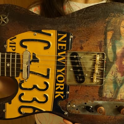 Custom unique telecaster left handed electric guitar Jimi Hendrix tattoo girl design 2021 brown for sale