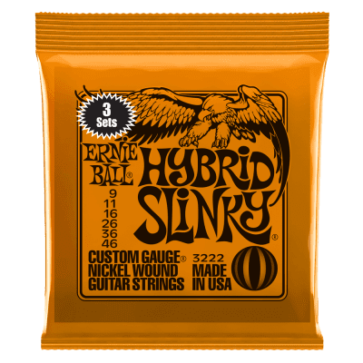 Ernie Ball Hybrid Slinky Nickel Wound Electric Guitar Strings 3 Pack - 9-46 Gauge