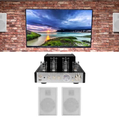Rockville BluTube Tube Amplifier/Home Theater Receiver+4) Wall Speakers in White