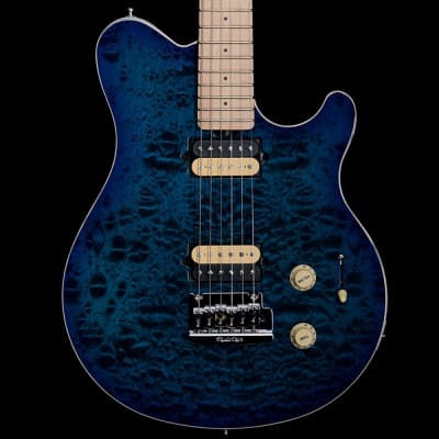 Music Man Axis Super Sport MHS Electric Guitar Balboa Blue Burst Quilt for sale