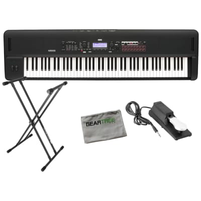 Korg KROSS288MB 88 Key Natural Weighted Hammer Action Synthesizer/Workstation Keyboard Matte Black w/ Pedal, Stand, Cloth