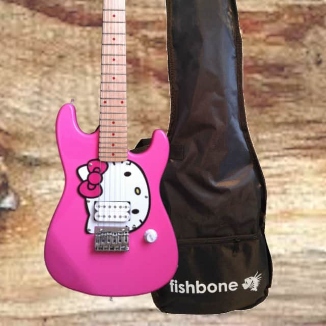 Fishbone Hello Kitty PINK Strat 2017 3/4 Travel Guitar 32.5 Inch Size Pink Hello kitty with Gig Bag image