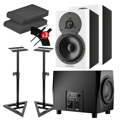 Dynaudio LYD 5 5″ Powered Studio Monitor White (Pair) - Monitor Stands - Foam Pads - (3) Mogami Cable - Dynaudio Acoustics 18S True Bass