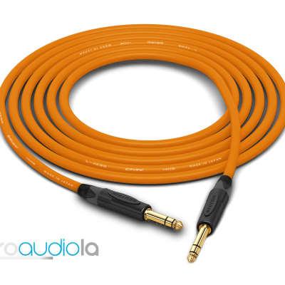 "Canare Quad Cable L-4E6S   Neutrik Gold 1/4"" TRS to 1/4"" TRS   Orange 45 Feet   45 Ft.   45'"