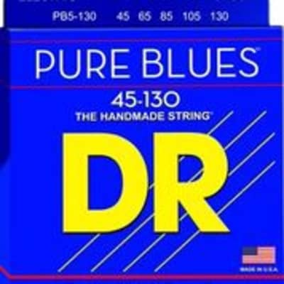 DR PB45-130 Pure Blue Quantum Nickel 5 Set Bass Strings, .045 - .130